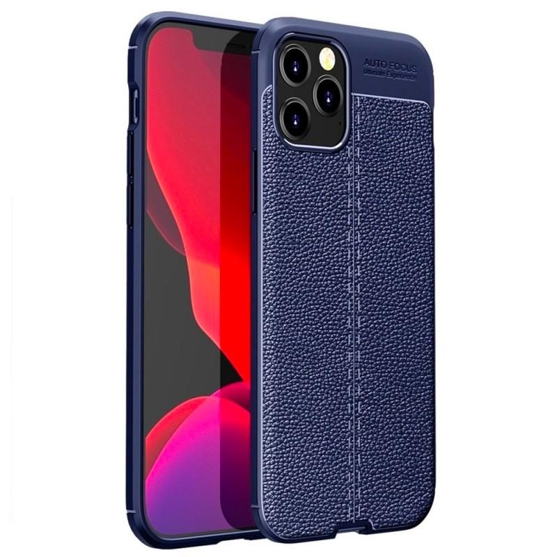 Mobiq Leather Look TPU Hoesje iPhone 12 6.1 Blauw - 1