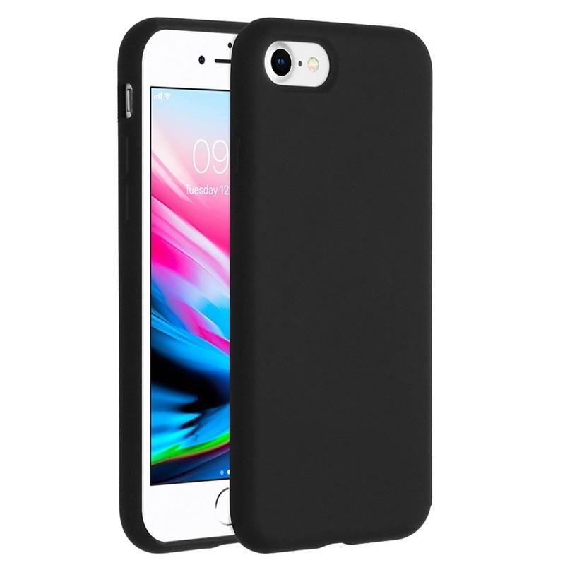 Mobiq Liquid Siliconen Hoesje iPhone SE (2020)/8/7 Zwart - 1