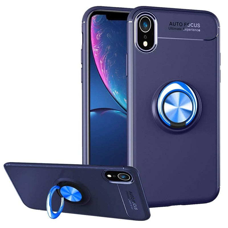 Mobiq Magnetic Ring Case iPhone X/XS Blauw - 1