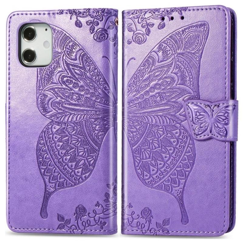 Mobiq Premium Butterfly Wallet Hoesje iPhone 12 6.1 inch Lichtpaars - 1