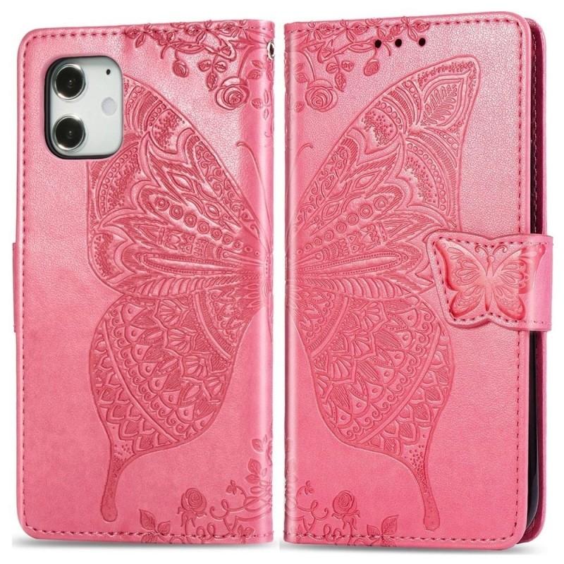 Mobiq Premium Butterfly Wallet Hoesje iPhone 12 Mini Roze - 1