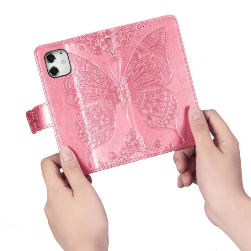 Mobiq Premium Butterfly Wallet Hoesje iPhone 12 Mini Roze - 2