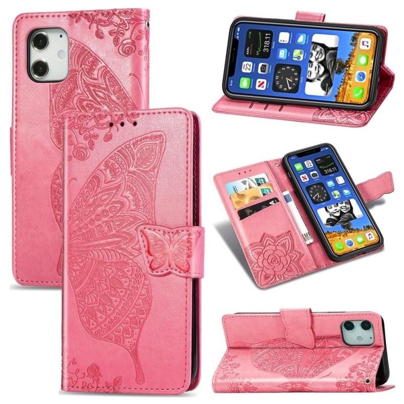 Mobiq Premium Butterfly Wallet Hoesje iPhone 12 Mini Roze - 3
