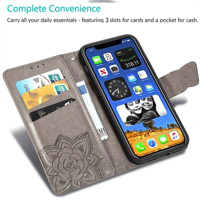 Mobiq Premium Butterfly Wallet Hoesje iPhone 12 Mini Grijs - 4
