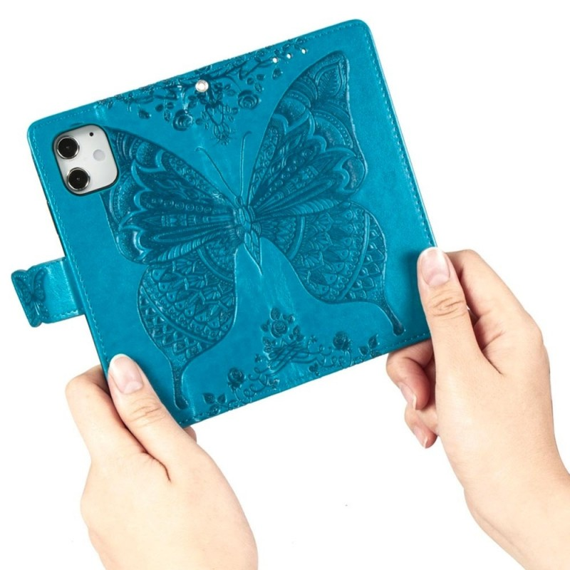 Mobiq Premium Butterfly Wallet Hoesje iPhone 12 Mini Blauw - 2