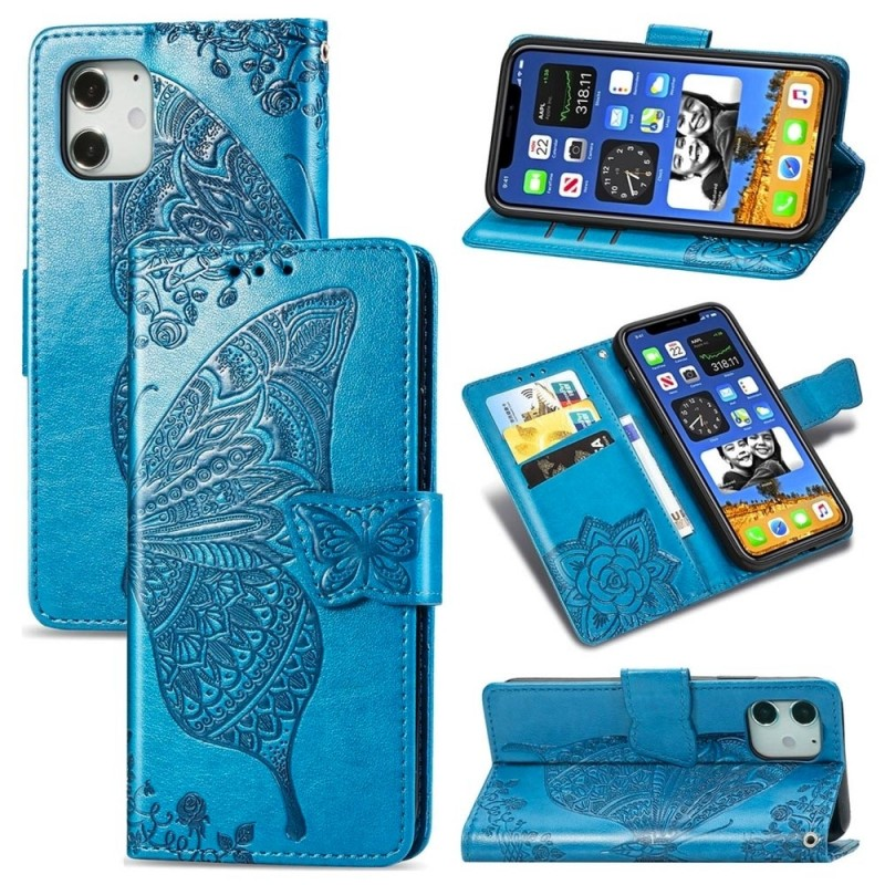 Mobiq Premium Butterfly Wallet Hoesje iPhone 12 Mini Blauw - 3