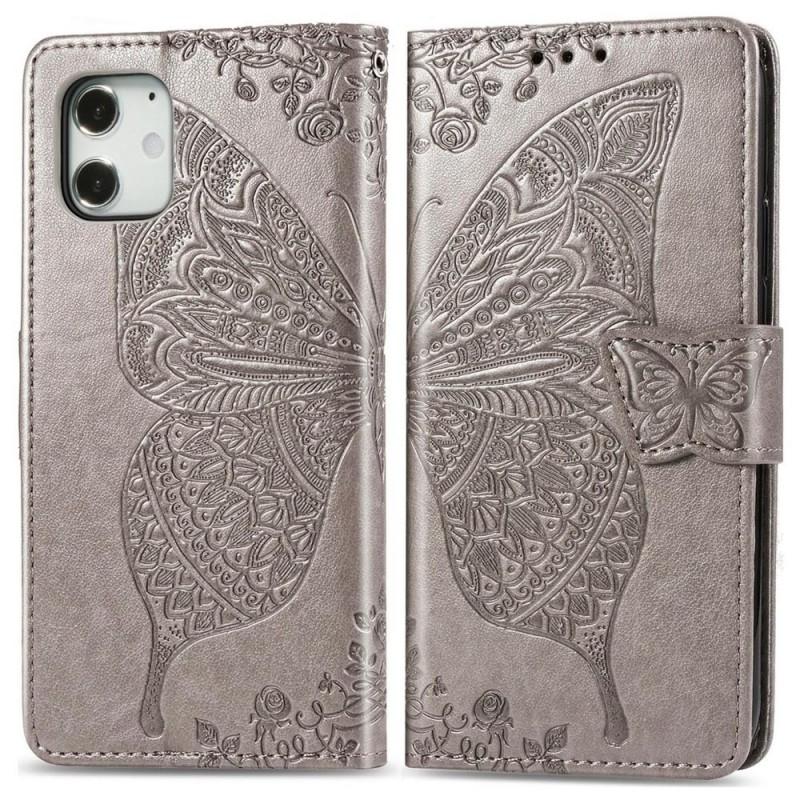 Mobiq Premium Butterfly Wallet Hoesje iPhone 12 Mini Grijs - 1