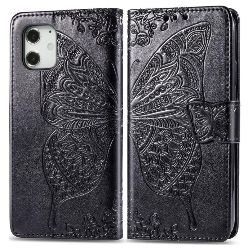 Mobiq Premium Butterfly Wallet Hoesje iPhone 12 Mini Zwart - 1