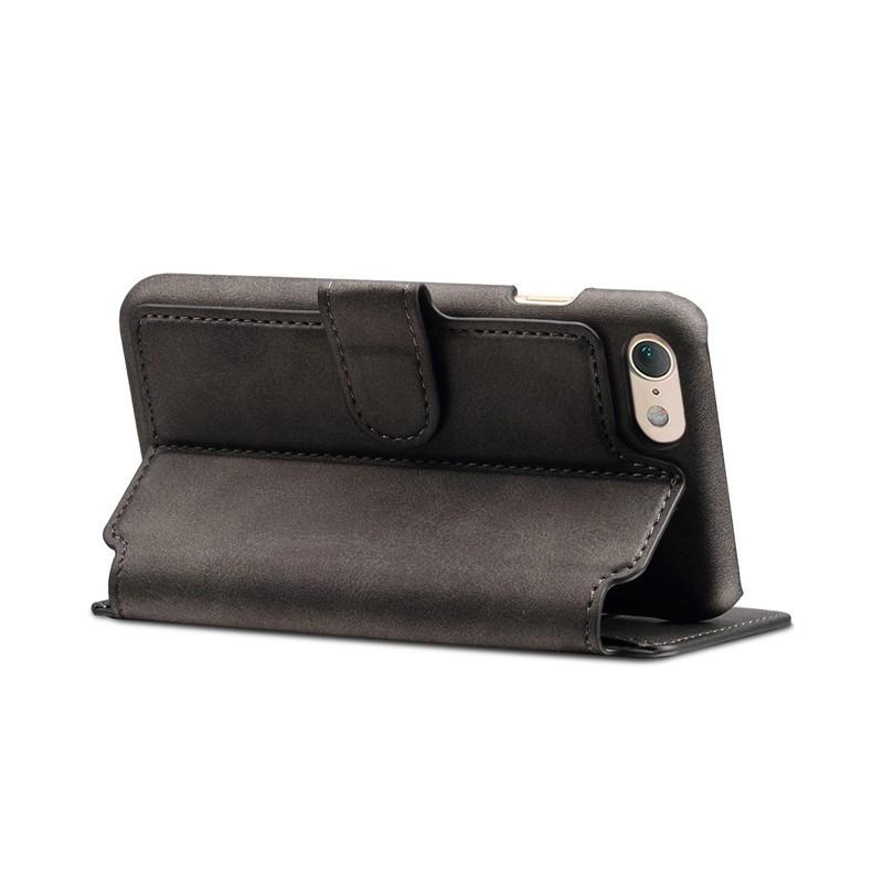 Mobiq Premium Lederen iPhone 8 / iPhone 7 Wallet hoes Zwart 04