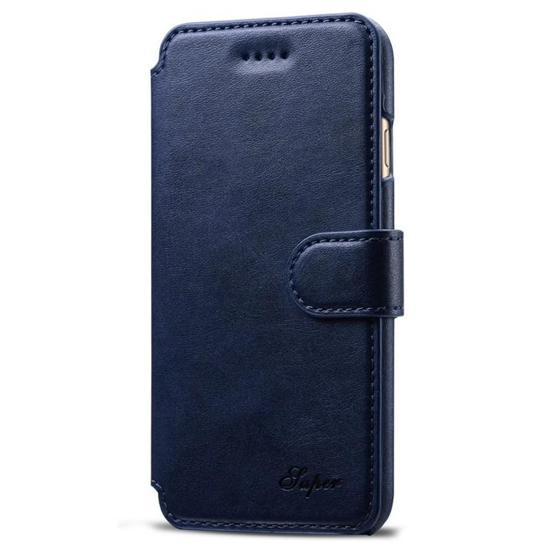 Mobiq Premium Lederen iPhone 8 / iPhone 7 Wallet hoes Blauw 01