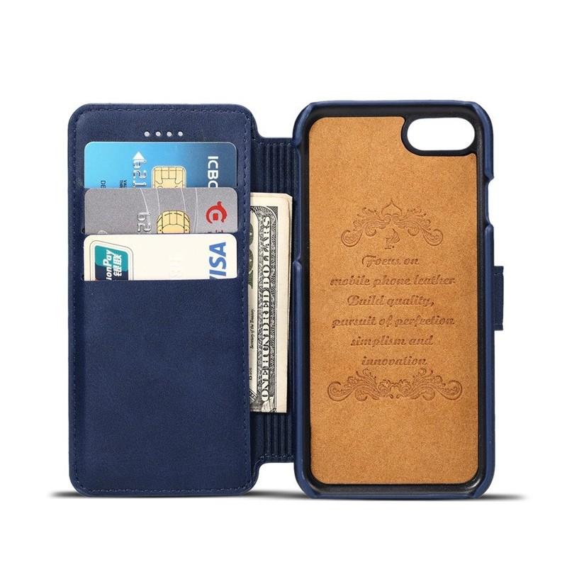 Mobiq Premium Lederen iPhone 8 / iPhone 7 Wallet hoes Blauw 03