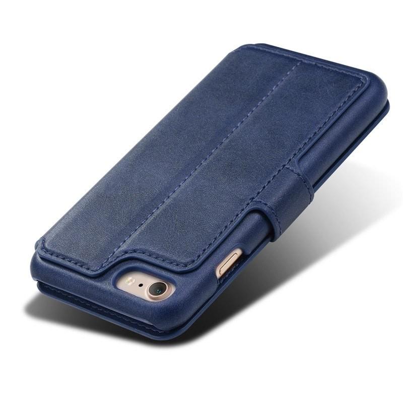 Mobiq Premium Lederen iPhone 8 / iPhone 7 Wallet hoes Blauw 05