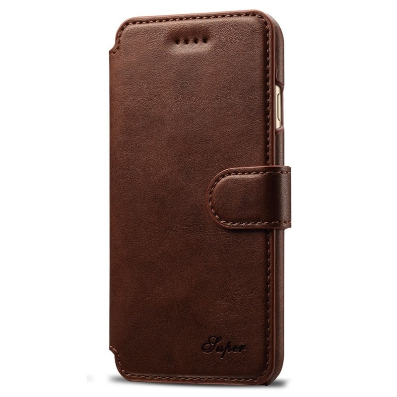 Mobiq Premium Lederen iPhone 8 / iPhone 7 Wallet hoes Bruin 01