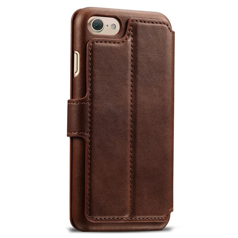 Mobiq Premium Lederen iPhone 8 / iPhone 7 Wallet hoes Bruin 02