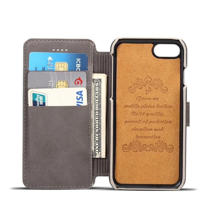 Mobiq Premium Lederen iPhone 8 / iPhone 7 Wallet hoes Grijs 03