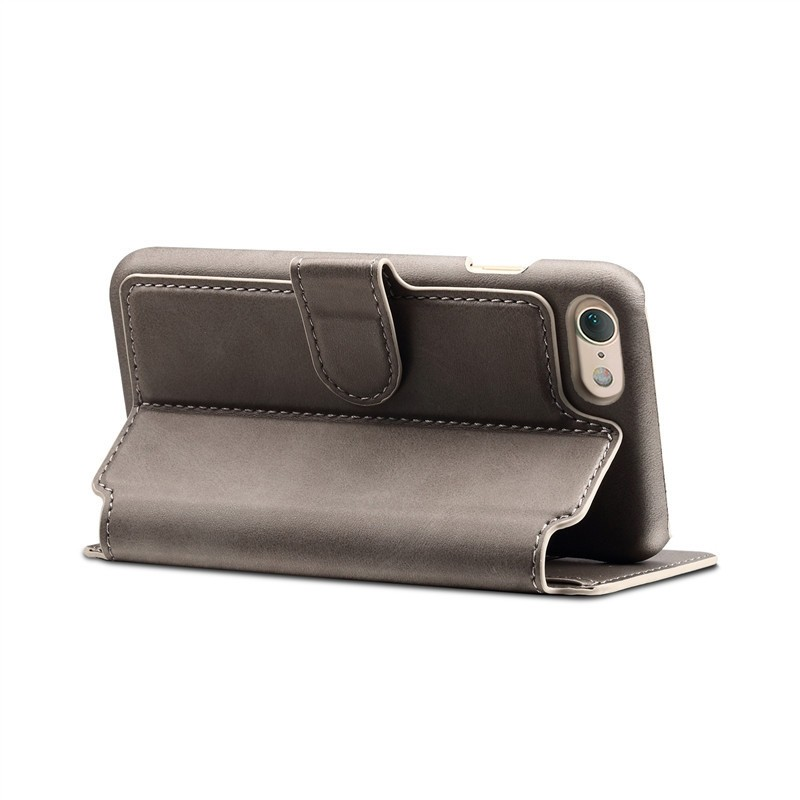Mobiq Premium Lederen iPhone 8 / iPhone 7 Wallet hoes Grijs 04