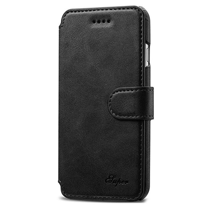 Mobiq Premium Lederen iPhone 8 Plus / 7 Plus hoes Zwart 01