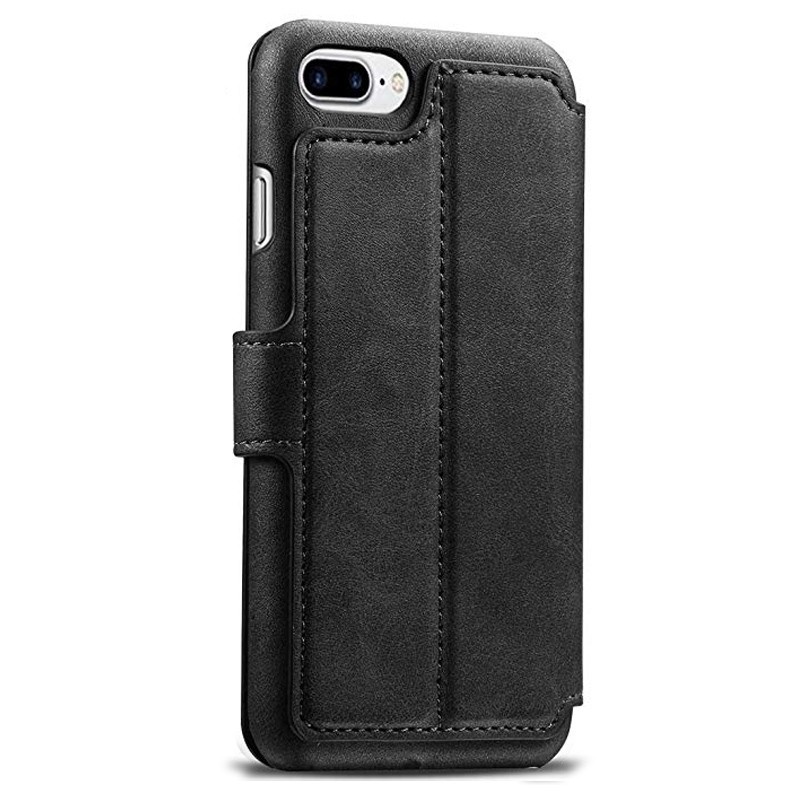Mobiq Premium Lederen iPhone 8 Plus / 7 Plus hoes Zwart 02