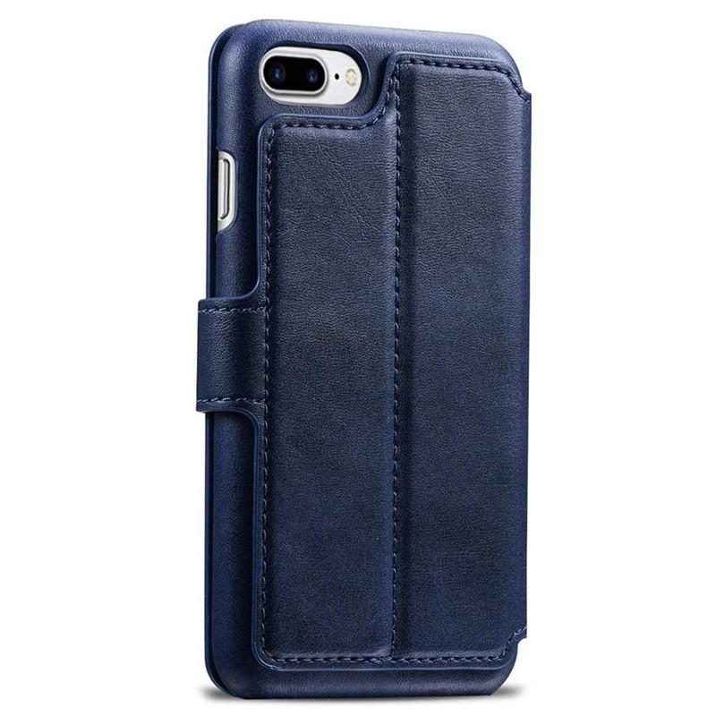 Mobiq Premium Lederen iPhone 8 Plus / 7 Plus hoes Blauw 02