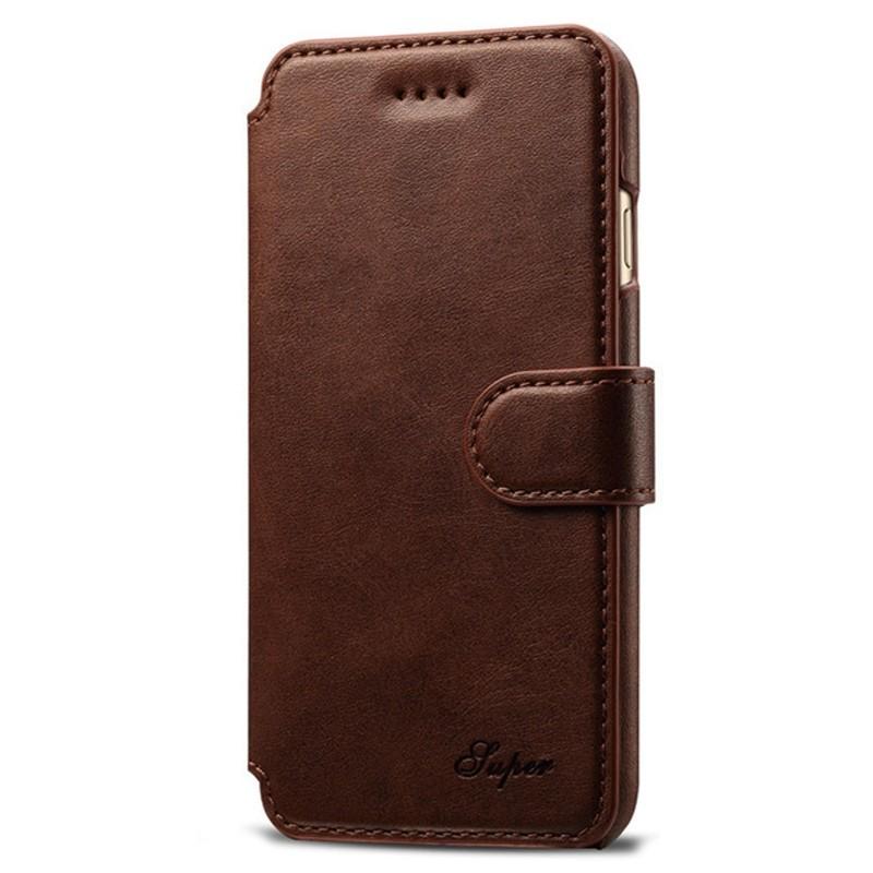 Mobiq - Premium Lederen iPhone 8 Plus / 7 Plus hoes Bruin 01