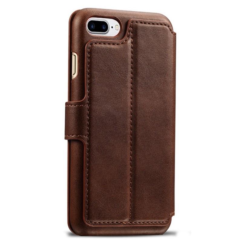 Mobiq - Premium Lederen iPhone 8 Plus / 7 Plus hoes Bruin 02