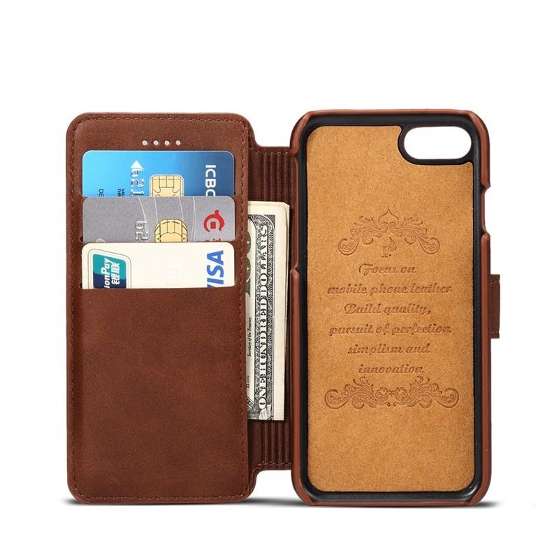 Mobiq - Premium Lederen iPhone 8 Plus / 7 Plus hoes Bruin 03