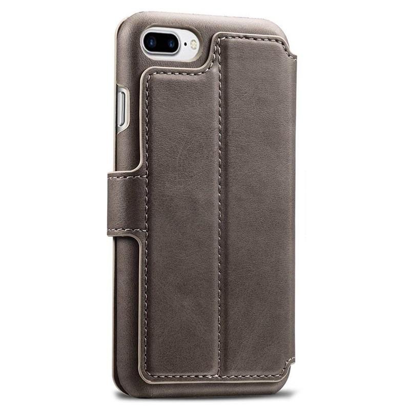 Mobiq Premium Lederen iPhone 8 Plus / 7 Plus hoes Grijs 02