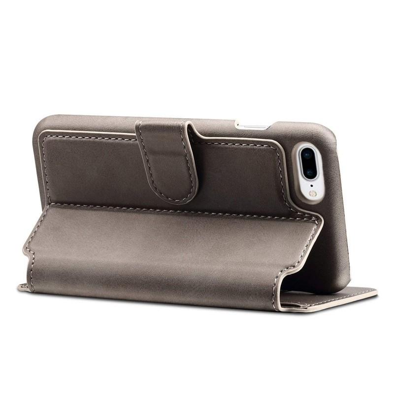 Mobiq Premium Lederen iPhone 8 Plus / 7 Plus hoes Grijs 04