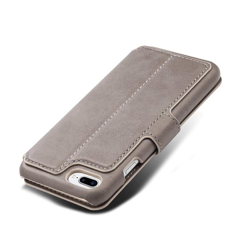 Mobiq Premium Lederen iPhone 8 Plus / 7 Plus hoes Grijs 05