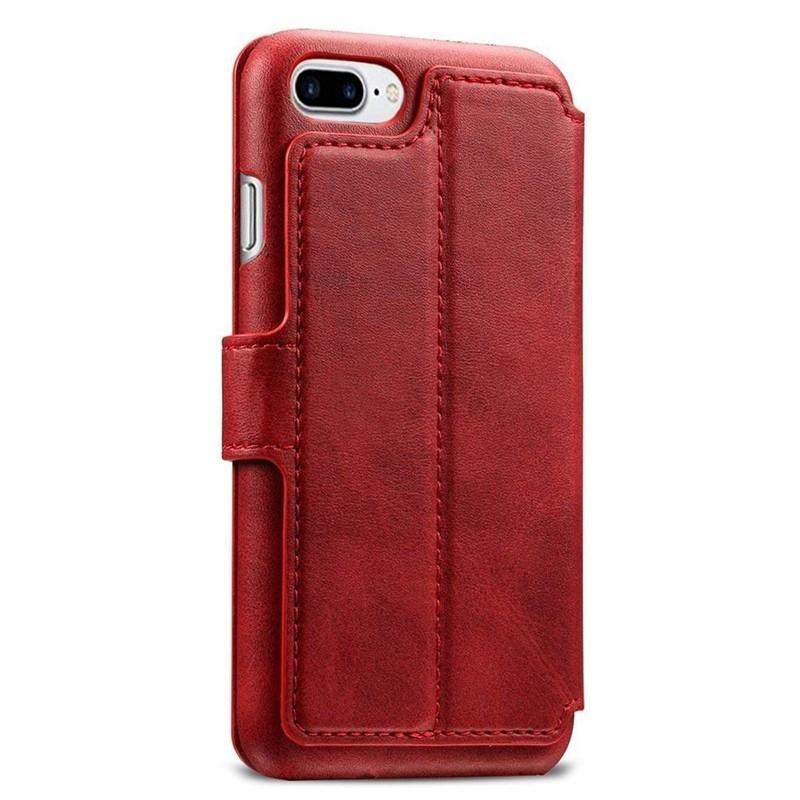 Mobiq Premium Lederen iPhone 8 Plus/7 Plus Wallet hoes Rood 02