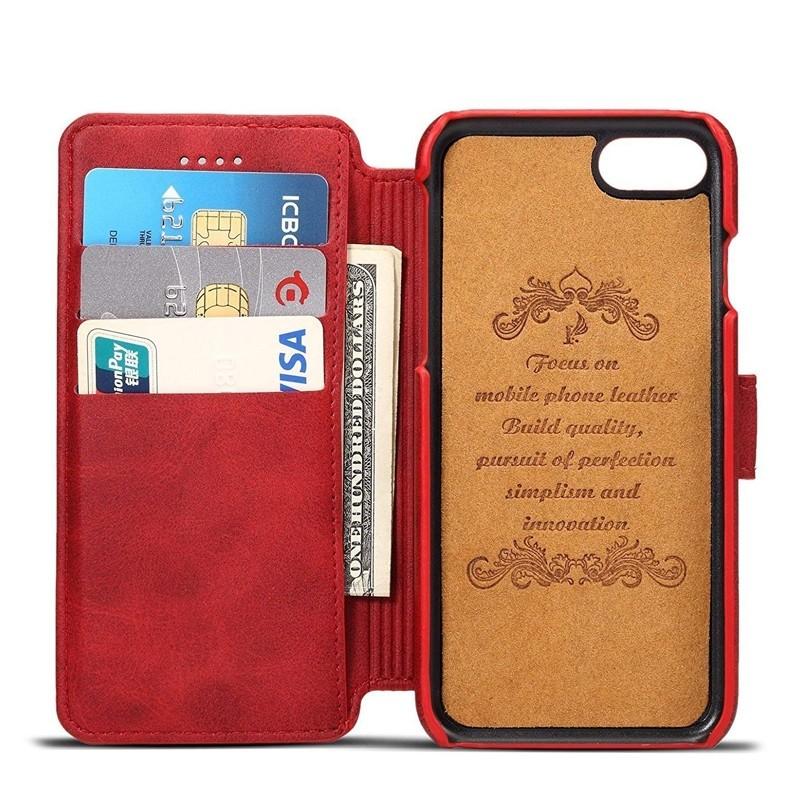 Mobiq Premium Lederen iPhone 8 Plus/7 Plus Wallet hoes Rood 03