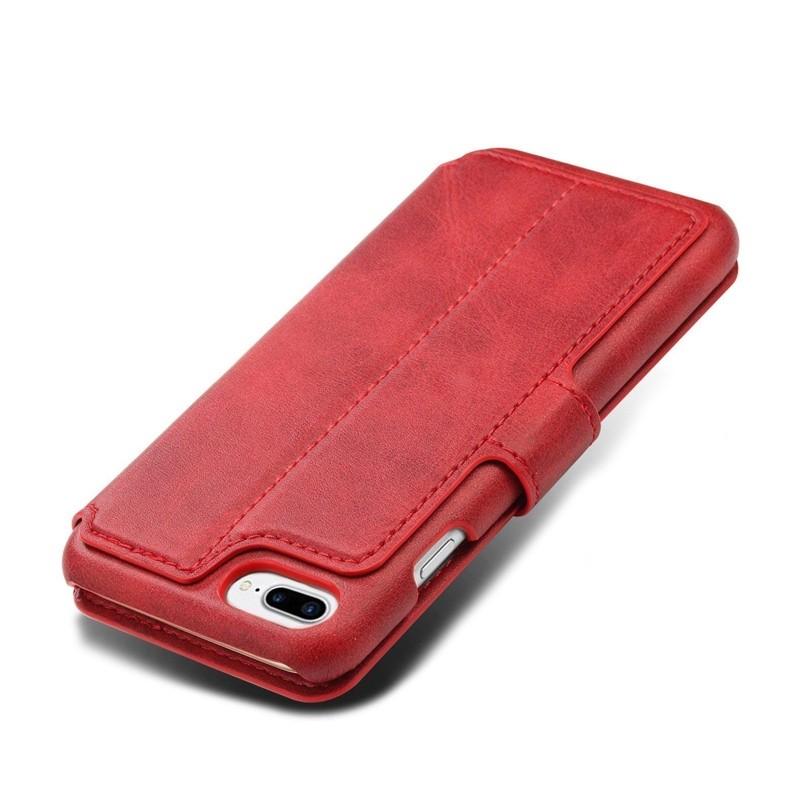 Mobiq Premium Lederen iPhone 8 Plus/7 Plus Wallet hoes Rood 05
