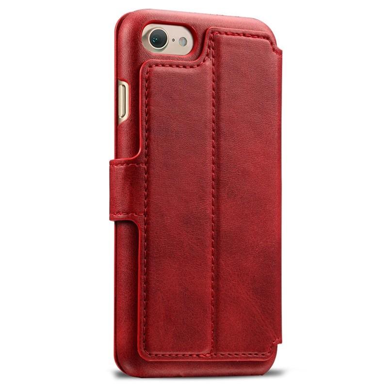 Mobiq Premium Lederen iPhone 8 / iPhone 7 Wallet hoes Rood 02