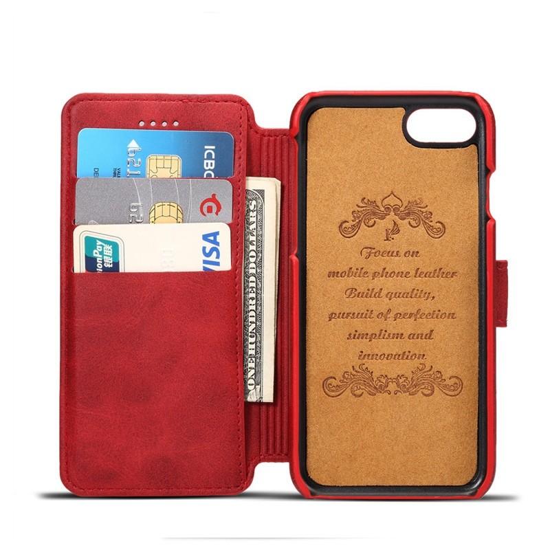 Mobiq Premium Lederen iPhone 8 / iPhone 7 Wallet hoes Rood 03