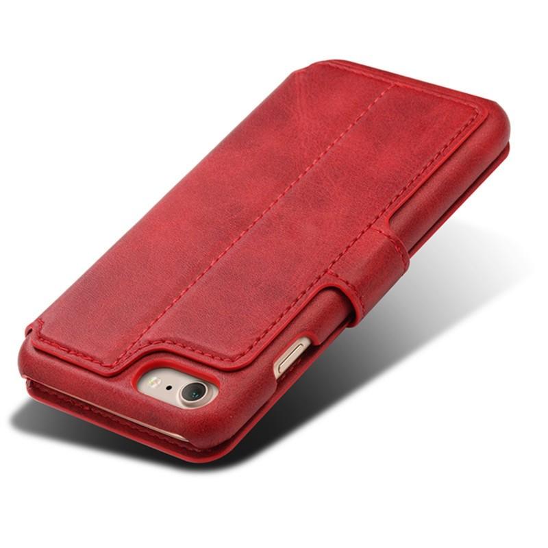 Mobiq Premium Lederen iPhone 8 / iPhone 7 Wallet hoes Rood 05