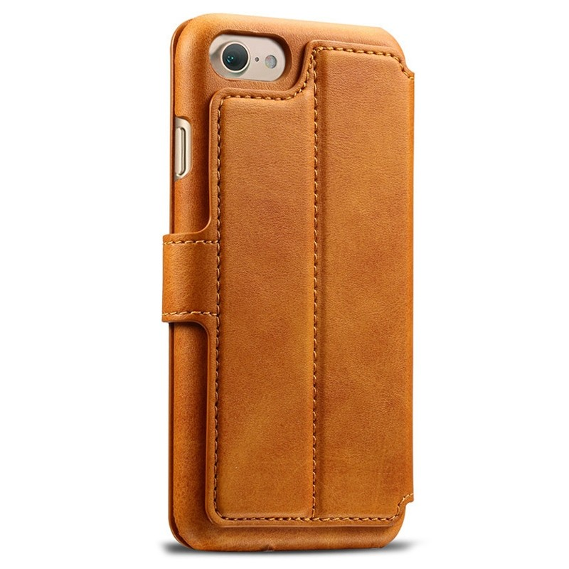 Mobiq Premium Lederen iPhone 8 / iPhone 7 Wallet hoes Tan Bruin 02