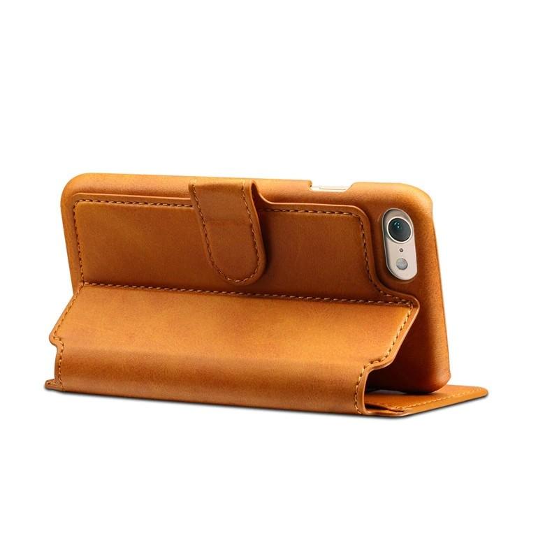 Mobiq Premium Lederen iPhone 8 / iPhone 7 Wallet hoes Tan Bruin 04