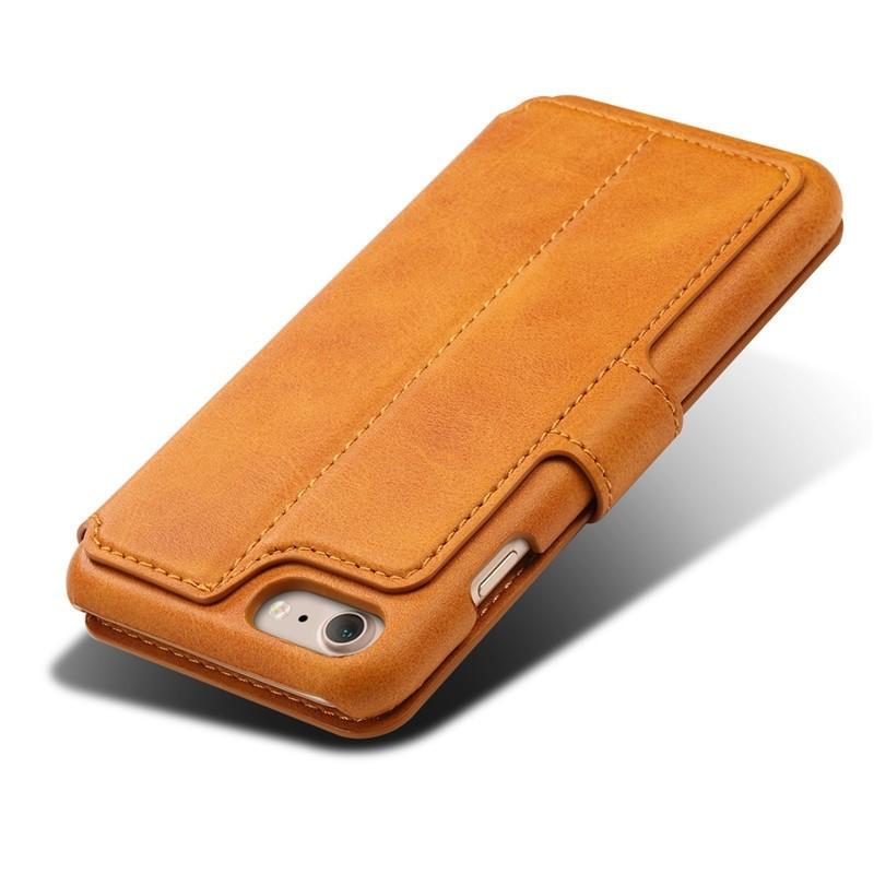 Mobiq Premium Lederen iPhone 8 / iPhone 7 Wallet hoes Tan Bruin 05
