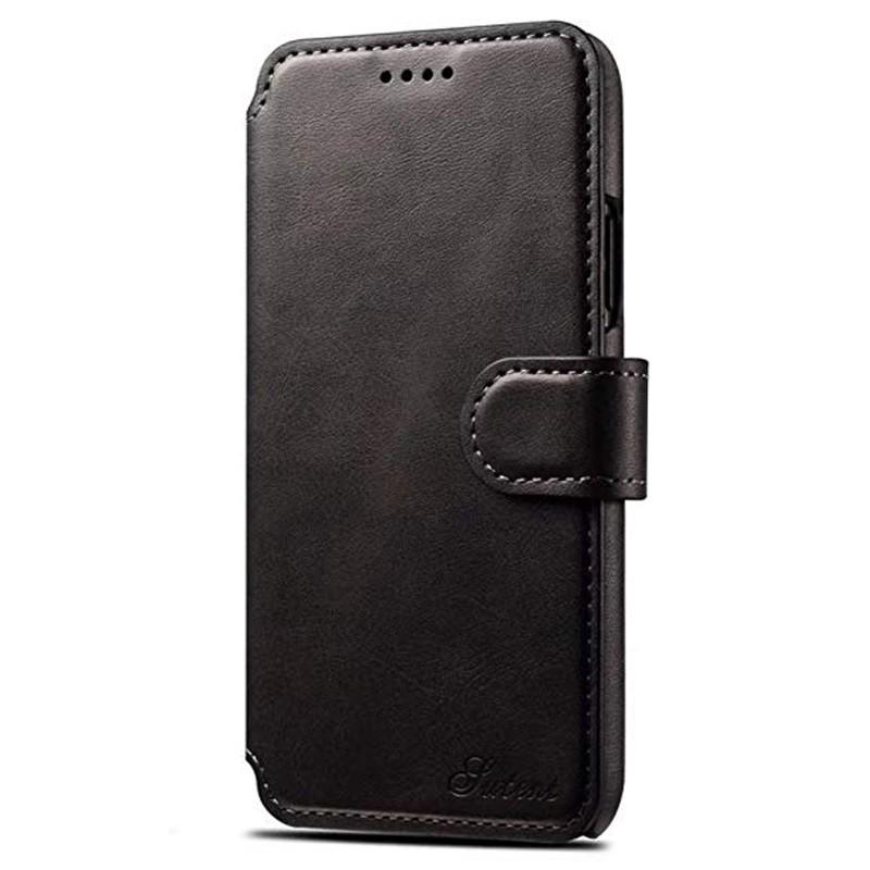 Mobiq Premium Lederen iPhone X/Xs Wallet hoes Zwart 01