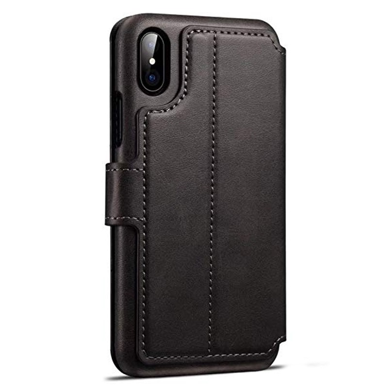 Mobiq Premium Lederen iPhone X/Xs Wallet hoes Zwart 02