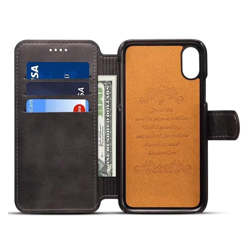 Mobiq Premium Lederen iPhone X/Xs Wallet hoes Zwart 03