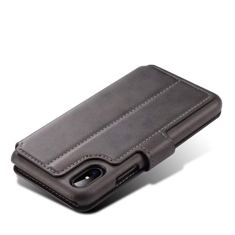 Mobiq Premium Lederen iPhone X/Xs Wallet hoes Zwart 05