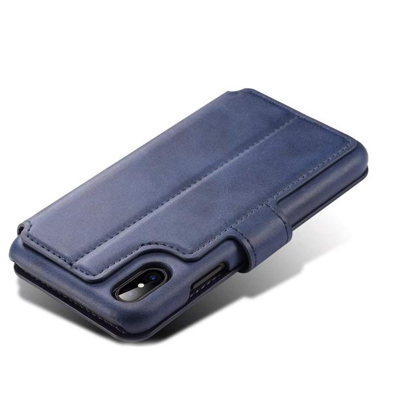 Mobiq Premium Lederen iPhone X/Xs Wallet hoes Blauw 05