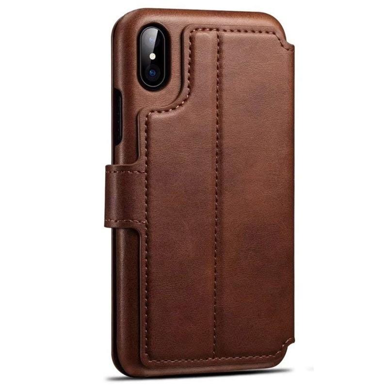 Mobiq Premium Lederen iPhone X/Xs Wallet hoes Bruin 02