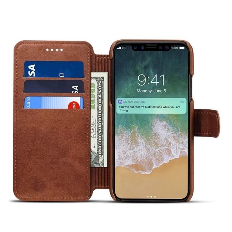 Mobiq Premium Lederen iPhone X/Xs Wallet hoes Bruin 03