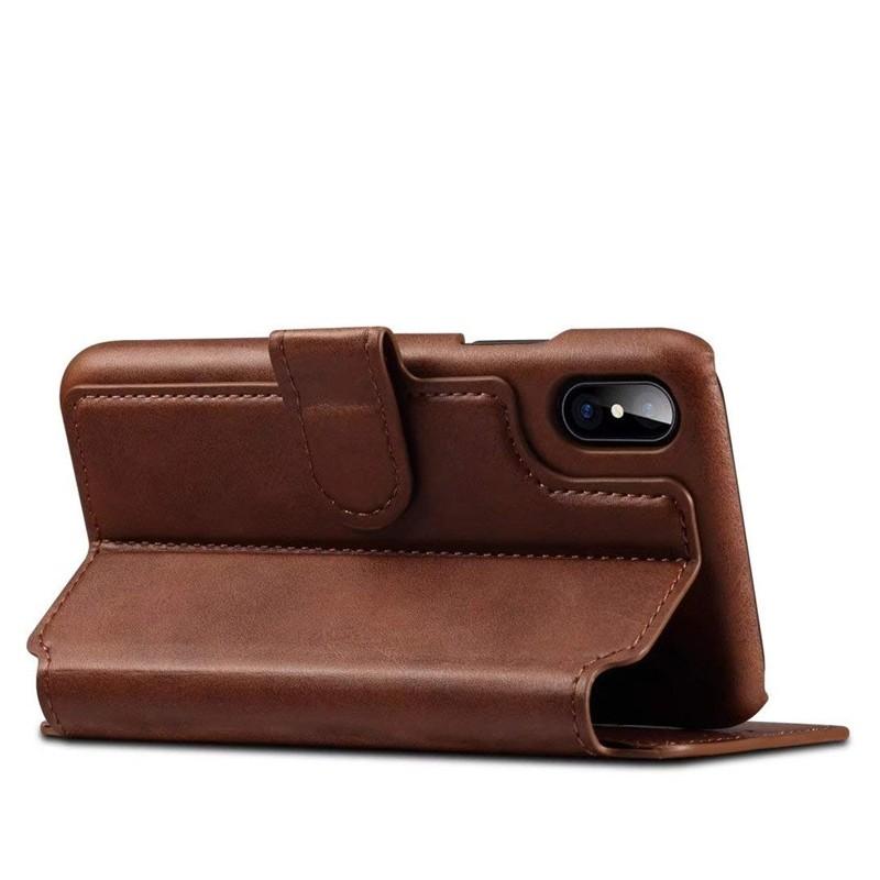 Mobiq Premium Lederen iPhone X/Xs Wallet hoes Bruin 04