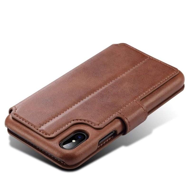 Mobiq Premium Lederen iPhone X/Xs Wallet hoes Bruin 05