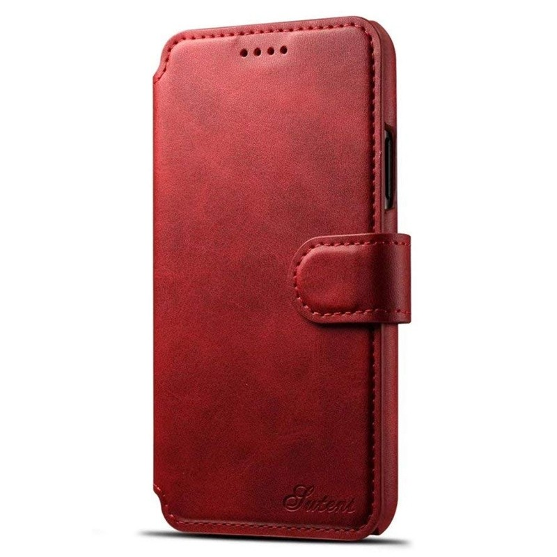 Mobiq Premium Lederen iPhone X/Xs Wallet hoes Rood 01