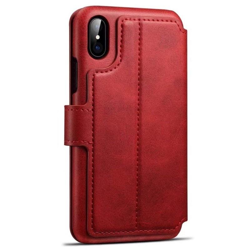 Mobiq Premium Lederen iPhone X/Xs Wallet hoes Rood 02