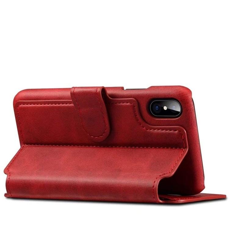 Mobiq Premium Lederen iPhone X/Xs Wallet hoes Rood 04